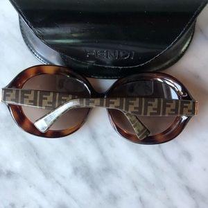 FENDI tortoise sunglasses with case. Like new.